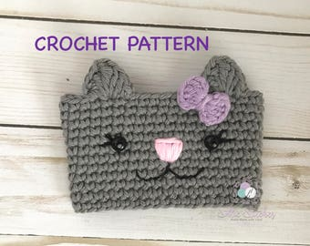Crochet Kitty Cup Cozy PATTERN, Digital Download Kitty Cup Cozy PATTERN Crochet