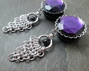 "Dangle Plugs - 7/8"" 22mm - 1"" 25mm - Gothic Plugs - Wedding Gauges - Chainmaille Jewelry - Plug Earrings"