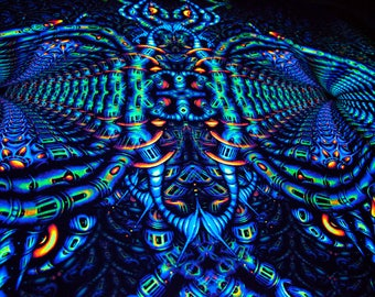 "PSYCHEDELIC TAPESTRY ""Monkeysound"" - UV blacklight backdrop, psy decor banner, glow visionary fractal art, wall hanging trippy design"