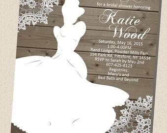 Rustic, wooden, vintage Disney Princess (Cinderella) Silhouette Bridal Shower Invitation (5x7) - DIGITAL FILE