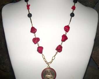 Red turquoise gemstone necklace - Sacred Heart of Jesus