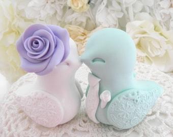 Love Bird Wedding Cake Topper, Lilac, White and Mint Green, Bride and Groom Keepsake, Fully Custom
