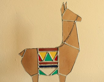 Stained Glass Llama sculpture