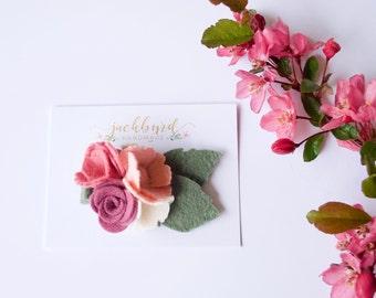 Summer Blossoms Felt Floral Headband / Alligator Clip / Nylon Headband / Rose, Mulberry, Ivory, Sage, Peach // Flower Crown // Summer