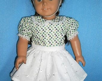 Special Bargain, Reduced Price, Ships Free,  Shamrock Dress for American Girl Size Dolls ,
