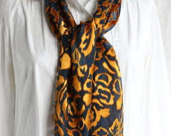 Mother's Day, Burnout Devore Satin, Hand painted, Silk Scarf