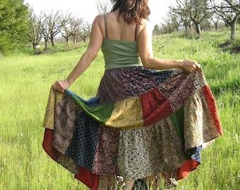 Patchwork skirt for all sizes, custom made skirt, handmade, juniors skirt, womens skirt, plus size skirt, unisex skirt, indian prints