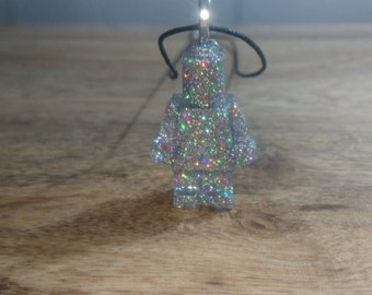 silver holographic sparkling glitter minifigure robot resin pendant, birthday gift, cyber festival rave, cord necklace,party bag filler
