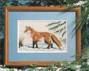 Red Fox In The Snow Counted Cross Stitch - Fox Cross Stitch  - Wild Animal Cross Stitch - Winter Cross Stitch