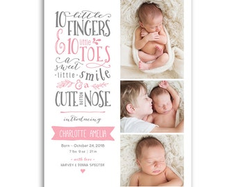 Birth Announcement Card - Baby Boy or Baby Girl - BABY CHARLOTTE - 1467