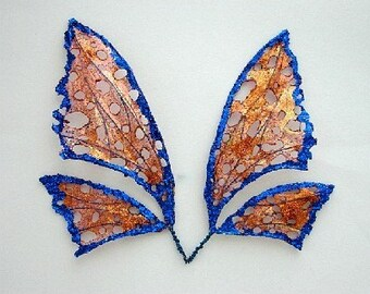 Fairy Wings-OOAK- BRONZE and BLUE-Sized for Dolls and Bears (Made to Order)