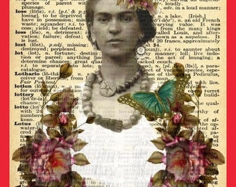 Antique Frida Kahlo Fabric Dictionary Page Butterfly FLowers Quilts Crafts FK48
