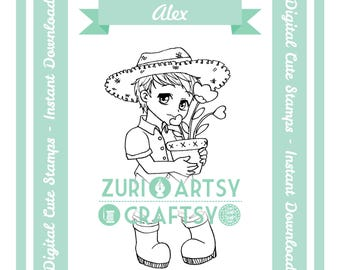 Digital Stamp, Alex, Scrapbooking Digital Stamp, Instant Download, Zuri Artsy Craftsy, Digi Stamp, Cardmaking, coloring page