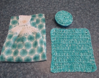 Crocheted hanging kitchen towel, dish cloth, and scrubbie set