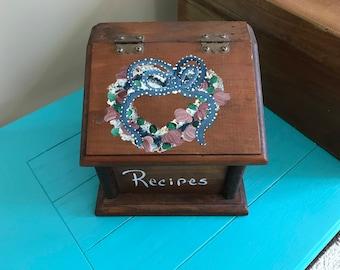 Vintage Retro Wood Hand Painted Recipe Box, Folk Art, Rose Mauling