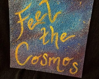 Feel the Cosmos Galaxy Acrylic Painting on Stucco Tile