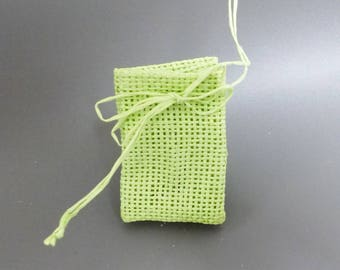 6 mini bags in green burlap for sweets decoration gifts