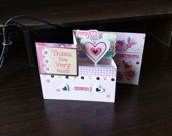 3D Pop Up Z-Fold Thanks/Thank You Card - luxury quality bespoke UK Mum/Daughter/Aunt/Niece/Grandma/Sister