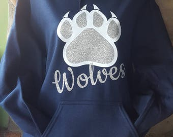 Glitter Wolves paw print navy Blue hoodie