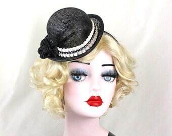 Mini Bowler Hat, Derby, Bob Hat, Halloween Costume, Burlesque Costume, Kids, Girls, Adults, Black Mini Hat, Mini Top Hat, Chaplin, Retro