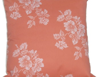 Cushion Cover Flowers in Salmon color - mattress fabric - decorative throw pillow covers - orange - 18 inch - flowers fabric - shabby chic.