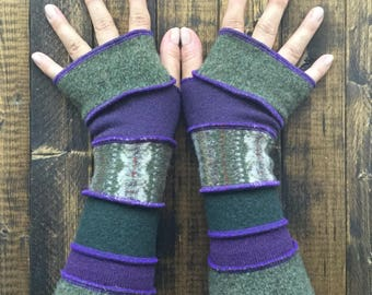 Fingerless Gloves Made from Recycled Sweaters - Festival Clothing - Arm Warmers - by Playful Chameleon
