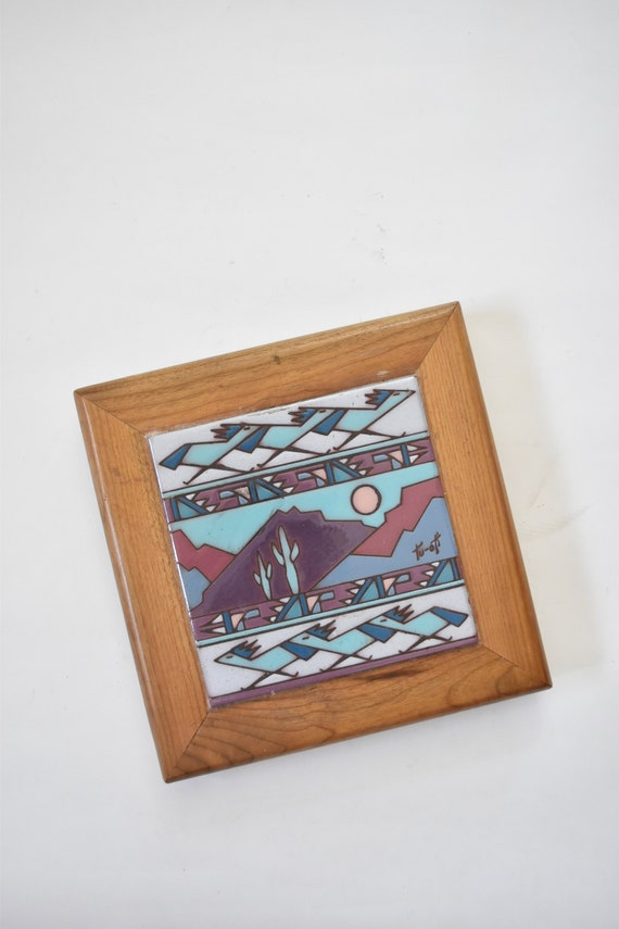 purple southwestern cactus large hand painted wood tile trivet coaster / hot plate