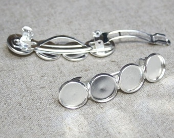 Pack of 4 Silver Tone Barrette Hair Clip with Cabochon Settings