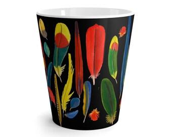 Latte Mug Parrot Feathers