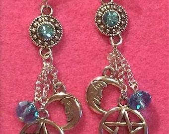 Wiccan pentagram earrings