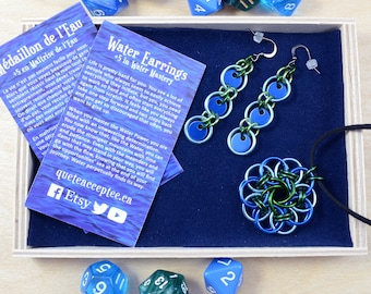 Water Earrings & Medallion- persévérance, détermination, patience - chainmail, roleplaying games dongeons and dragons Magic the Gathering