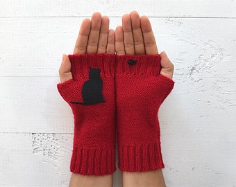 Inspirational Gift, Red Mitten, Cat Gloves, Mother's Day Gift, Cat Arm Warmers, Gift For Mother, Cat Lover Gift, Inspirational Women Gift