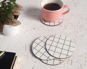 Set of coasters | grid pattern | housewarming gift | gifts for her | minimalist gift | scandi style | monochrome