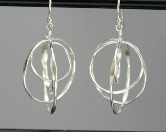 Sterling Silver Spinning Hoop Earrings - Nickel Free Dangle Earrings - Sterling Silver Drop Hoop -, Unique Hoops - Cool Earrings