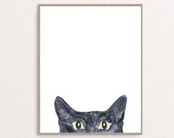 Black cat peeking Painting Wall Poster Watercolor Art Colorful Stripe Decor Print Pet Drawing portrait gig funny room nursery brown grey