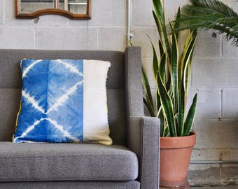 Indigo Pillow Cover | Indigo Pillow Case | Shibori Pillow | Quilted Pillow | Modern Pillow Cover | Boho Decorative Pillow | 16-inch Pillow