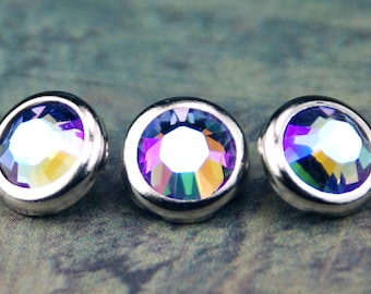 10 tanzanite Glacier bleu cristal cheveux boutons pressions - ronde argent jante édition--faite avec des strass Swarovski Element