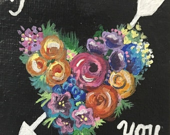 I love you - canvas painting - miniatute - flowers - colorful