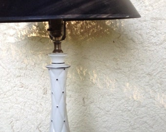 Ceramic Black and White 50s Lamp With Quilted Pattern