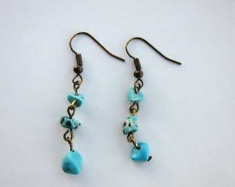 Turquoise Chip Earrings Bronze Colored Turquoise Earrings