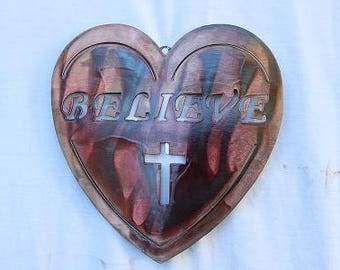 Heart with Believe and Cross 450