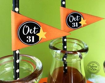 KIT Halloween Oct 31 Straws & Flags / Cupcake Topper / Halloween Straws / Cupcake Topper /Smiling Jack Halloween Treat Box