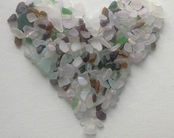 8 oz - Natural Sea Glass multicolor - medium-size.