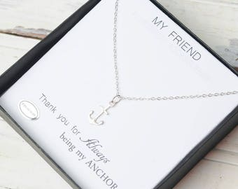 Sale, Bff Necklace, Best Friends, Small Anchor Necklace, Sterling Silver Anchor, Dainty,  Friendship Necklace, Best Friends, Anchor Jewelry,