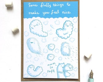 SALE! Fluffy Things Get Well Feel Bettter Card