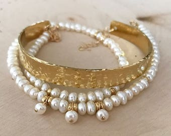 Freshwater Pearl and Gold Hammered Cuff Wrap Bracelet / necklace. Spiritual bracelet with meaning. Textured cuff.