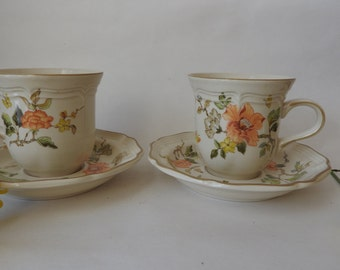 Pair of Mikasa Orange Floral Tea Cups and Saucers