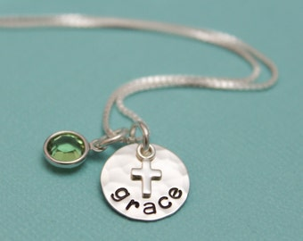 SALE Personalized Cross Necklace, Confirmation Necklace, First Communion Necklace, Cross Jewelry, Gifts for Girls, Hand Stamped