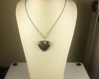 Lovely Tiffany & Co. Sterling Silver Beaded Heart Necklace