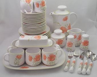 Noritake Bright Side Dinnerware Set for 8, Orange Poppy Pattern, 42 PC ~ Vintage c1976-1982